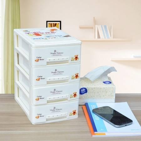 办公桌面收纳4层小整理柜抽屉式整理柜四色选择迷你收纳柜子【多省包邮】【活动专用】
