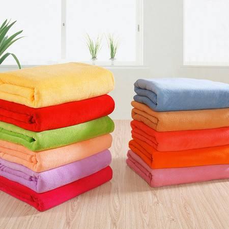 简约纯色毛毯 办公室空调毯 午睡毯 薄毯 床单 法莱绒 超柔素色150*200CM【颜色随机】