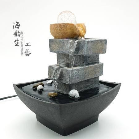 海韵生 环保树脂塑料 石来运转室内流水摆件加湿器