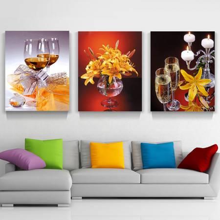 海韵生 进口油画布松木框客厅餐厅装饰画三联画挂画