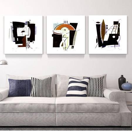 海韵生 进口油画布 抽象画客厅餐厅书房装饰画挂画壁画墙画三联画