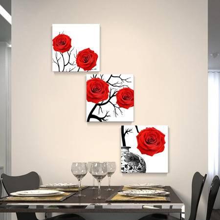 海韵生 进口油画布福寿系列装饰画挂画墙画三联画书房客厅办公室