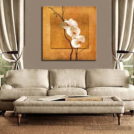 海韵生 进口油画布客厅装饰画现代沙发背景墙无框画蝴蝶兰