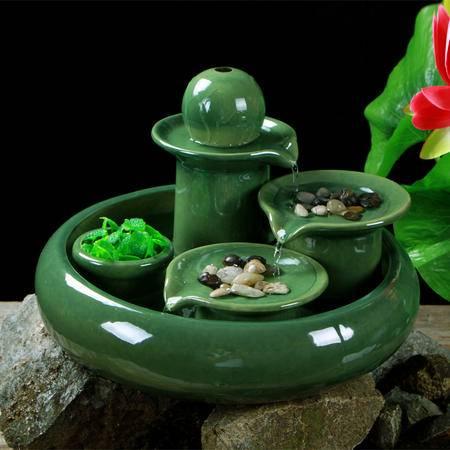海韵生 陶瓷家居装饰品加湿器步步高升流水摆件桌上摆设