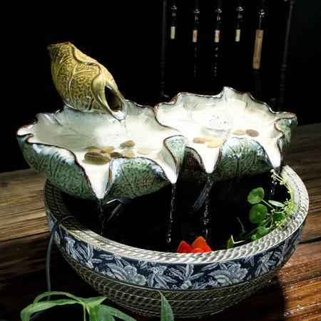 海韵生 陶瓷摆件创意装饰品流水家居摆设礼品可当加湿器