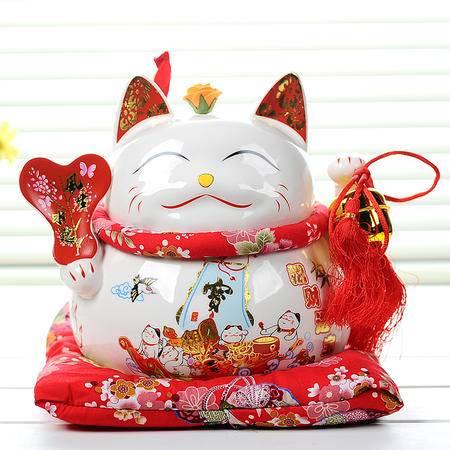 海韵生 陶瓷摆件储蓄罐零钱罐招财猫风生水起工艺品客厅摆设开业送礼