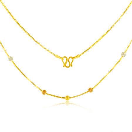 中国黄金 足金项链 彩色磨砂圆珠黄金项链 TLL21002G