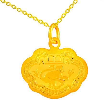 中国黄金 足金吊坠 双面长命富贵锁片黄金吊坠 DZO31020G