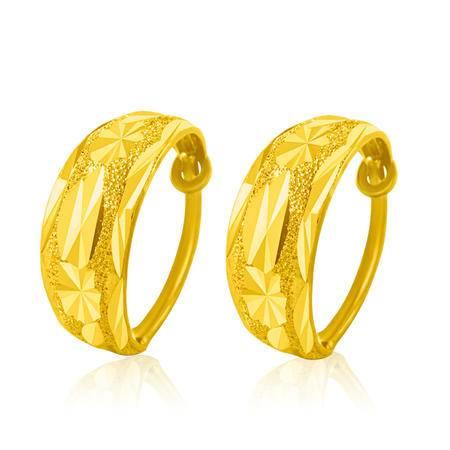 中国黄金 足金耳钉 满天星磨砂蛇肚型黄金耳饰 ESE01003G