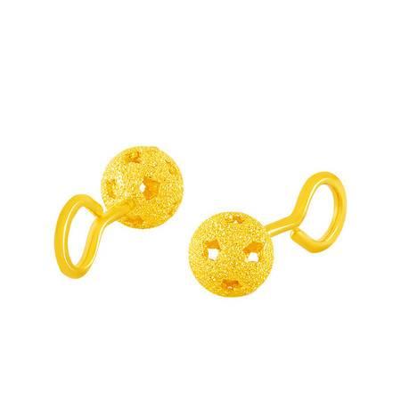 中国黄金 足金耳钉 镂空砂钉圆球黄金耳钉 ESB24008G