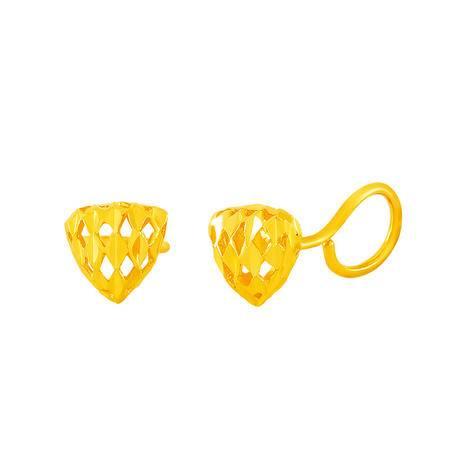 中国黄金 足金耳钉 立体车花镂空三角形黄金耳钉 ESB24010G