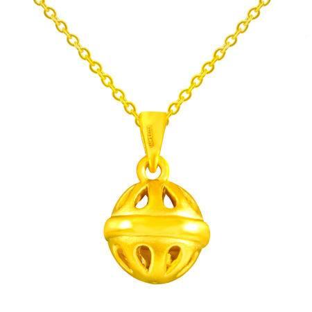 中国黄金 足金吊坠 3D硬金镂空铃铛黄金吊坠 DZL24001G