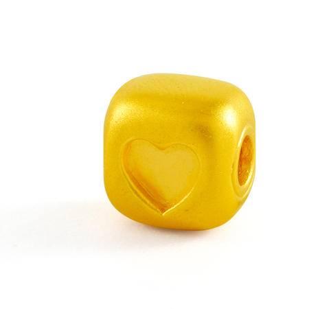 中国黄金 足金转运珠 3D硬金心形图案黄金手串 ZYO23001G