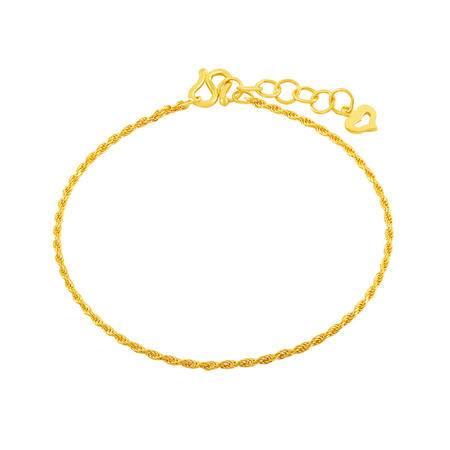 中国黄金 足金手链 简约仿绳素链黄金手链 SLL14002G