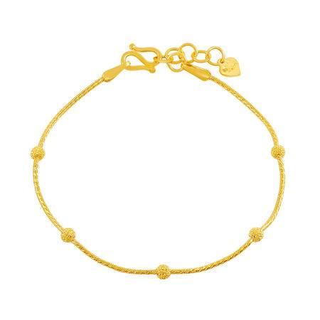 中国黄金 足金手链 磨砂圆珠蛇骨黄金手链 SLL24004G
