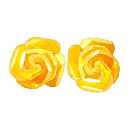 中国黄金 足金耳钉 浪漫玫瑰花黄金耳钉 ESB03012G