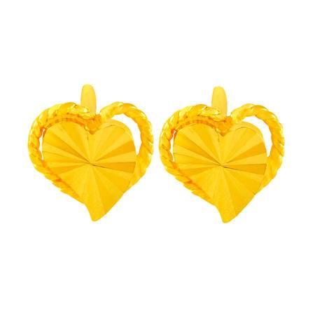 中国黄金 足金耳钉 优雅仿钻心形黄金耳钉 ESB23014G
