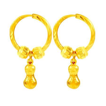中国黄金 足金耳圈 长生果圆珠黄金耳圈 ESE24005G