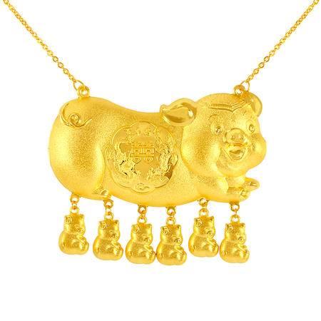 中国黄金 足金项链 百年好合婚嫁猪牌黄金套链 TLL11011G