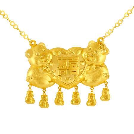 中国黄金 足金项链 心相印婚嫁猪牌黄金套链 TLL11010G