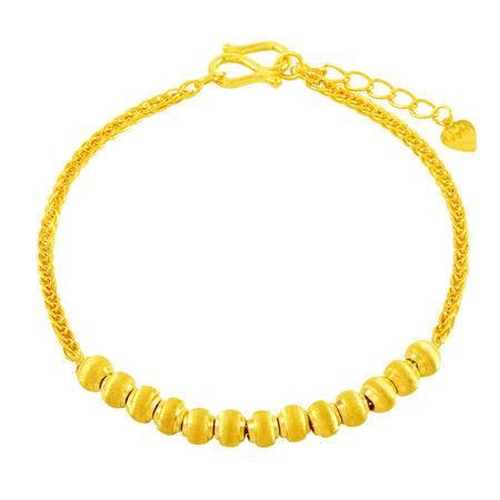 中国黄金 足金手链 拉丝圆珠肖邦黄金手链 SLL24012G