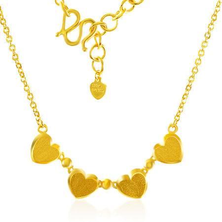 中国黄金 足金项链 心形锁骨链黄金套链 TLL23007G
