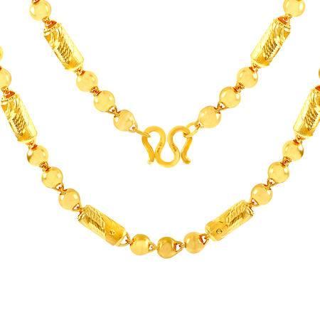 中国黄金 足金项链 气质圆筒间转运圆珠男款黄金项链 XLD10048G