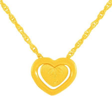 中国黄金 足金项链 心相印心形套链黄金项链 XLL23003G