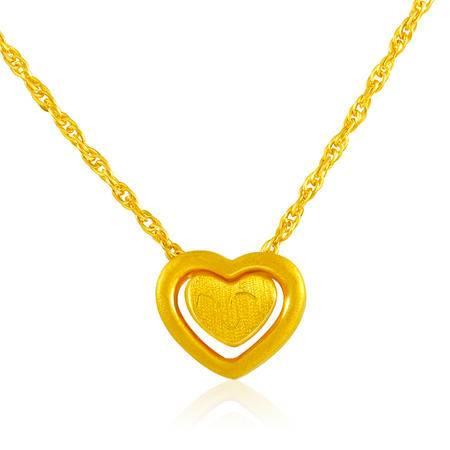 中国黄金 足金项链 微笑常伴心形套链黄金项链 XLL23004G