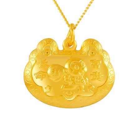 中国黄金 足金吊坠 长命富贵猴子锁包黄金吊坠 DZO31011G