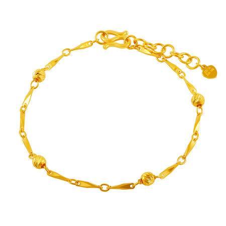 中国黄金 足金手链 相间圆珠瓜子链黄金手链 SLL24019G