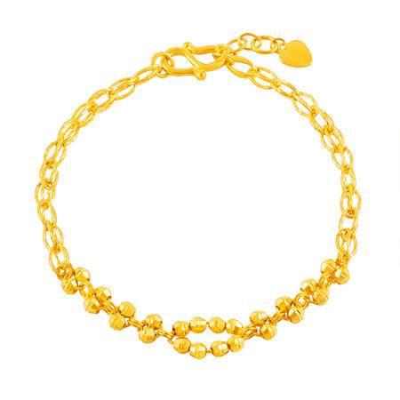 中国黄金 足金手链 抛光圆珠时尚款黄金手链 SLL24022G