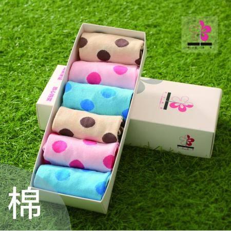 依兰朵纹女袜6双/盒纯棉短筒圆圈球球糖果色礼盒装