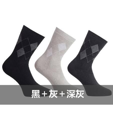 [3双装]三枪袜子 秋冬新品舒肤棉加厚全毛啳菱形男袜 90708Z1