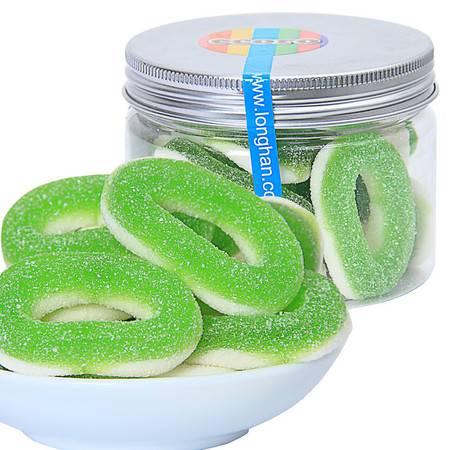 ecoro怡可诺橡皮糖酸苹果圈80后零食 QQ糖 糖果休闲零食品100g*3罐