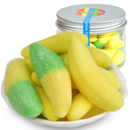 怡可诺橡皮糖 (香蕉形)口味随机QQ糖果汁软糖休闲零食品100g*3罐