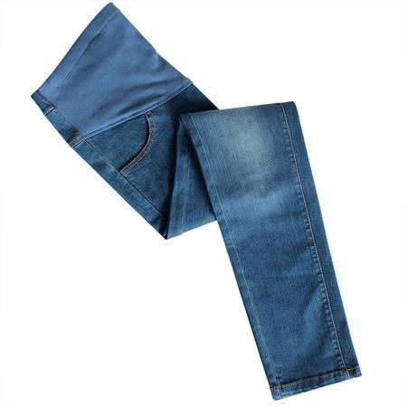 咿呀孕妇高腰弹力牛仔裤显瘦修身孕妇裤 小脚铅笔长裤妙佳宝贝