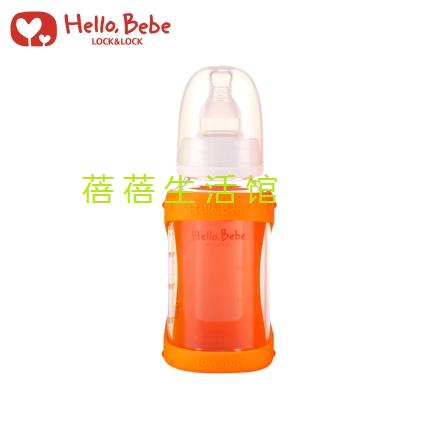 乐扣乐扣Hello Bebe耐热玻璃奶瓶含硅胶防护套120ml HBB103R