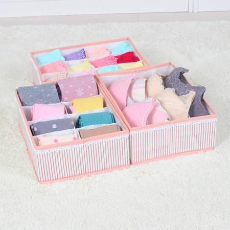 无盖内衣收纳盒三件套 内裤袜子收纳盒文胸整理盒储物盒抽屉 可搭配五层挂袋