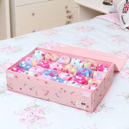 弹片设计24格内衣内裤收纳盒布艺衣柜收纳盒袜子整理盒家用抽屉整理箱
