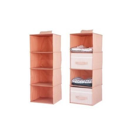 四层衣柜收纳挂袋 悬挂式衣服收纳袋储物袋 三件套 衣橱抽屉盒宿舍收纳盒 含两个抽屉盒