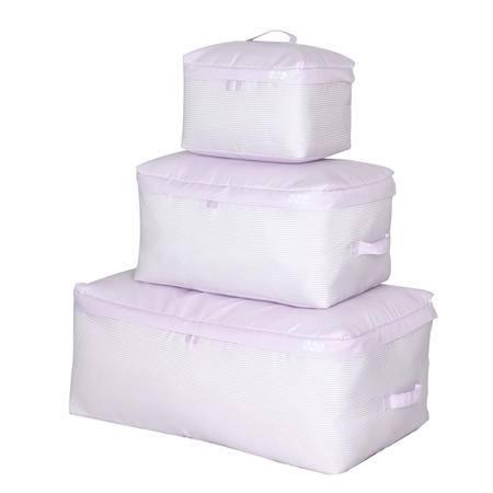 紫色条纹棉布棉被衣物整理收纳袋衣服储物袋 超值三件套收纳软包