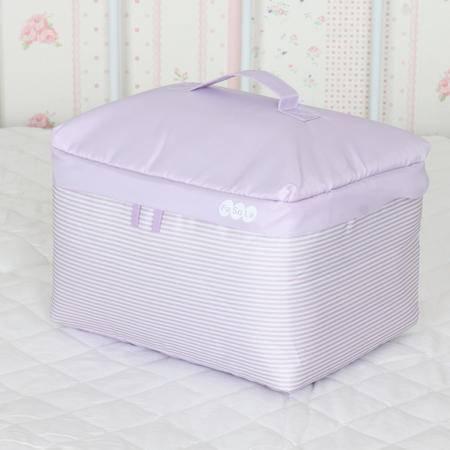 紫色条纹棉布棉被衣物整理收纳袋衣服储物袋 S小号迷你收纳软包