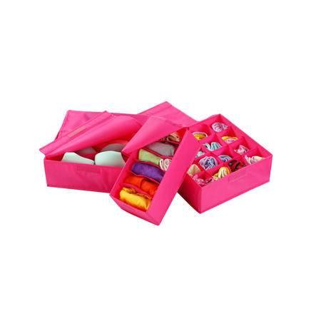 优质牛津布内衣收纳盒有盖三件套多件整理储物盒收纳箱 多色可选