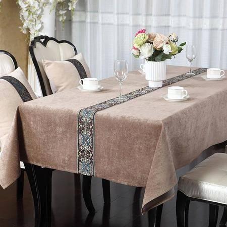 欧式美式桌布布艺棉麻新古典现代中式高档餐桌茶几桌布艺定制130cm*180cm驼色