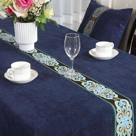 欧式美式现代中式桌布奢华民族风高档餐桌茶几电视柜布艺定制130cm*200cm灰蓝色