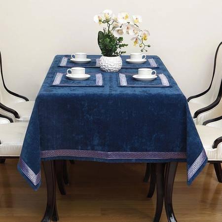 伟殳家居欧式桌布美式现代桌布高档餐桌茶几布电视柜布艺定制130cm*200cm孔雀蓝色