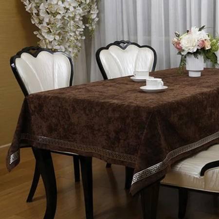 伟殳家居欧式桌布美式现代桌布高档餐桌茶几布电视柜布艺定制130cm*200cm棕色