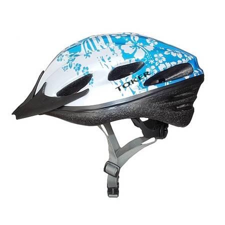 toker正品男女山地自行车头盔轮滑头盔帽粉红碎花M码TK-p21