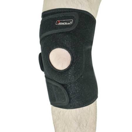 badica护膝专业篮球足球骑行三条带可调式加厚开孔护膝登山运动护具 均码 黑色单只装 BT6604